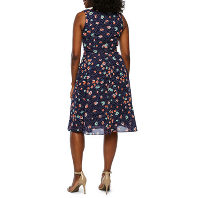 R & K Originals Sleeveless Floral Fit & Flare Dress-Petite