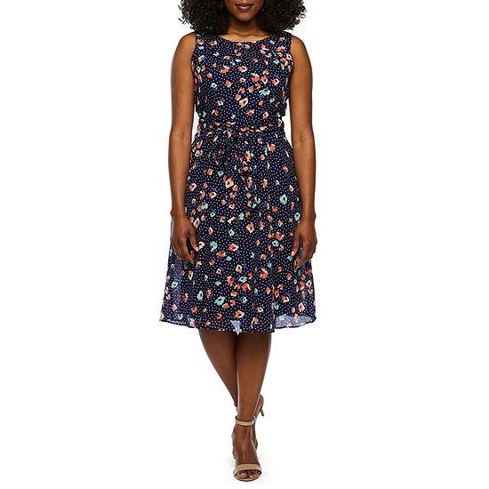 R & K Originals-Petite Sleeveless Floral Fit & Flare Dress