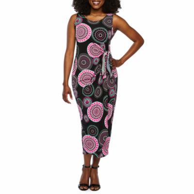 Robbie Bee Sleeveless Circles Maxi Dress-Petite