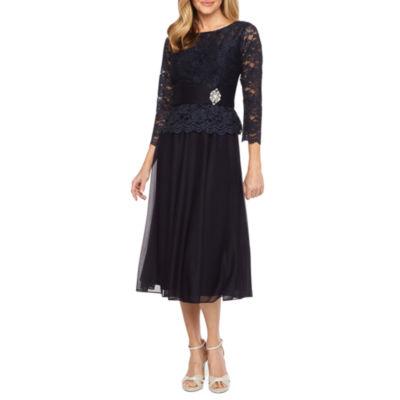 Jackie Jon 3/4 Sleeve Embellished Fit & Flare Dress