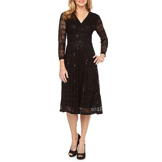 Ronni Nicole Long Sleeve Lace Fit & Flare Dress