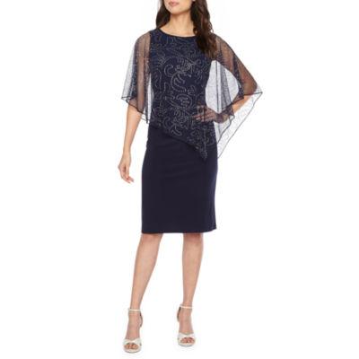 Ronni Nicole Short Sleeve Beaded Cape Sheath Dress