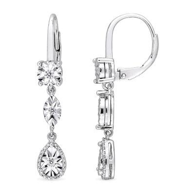 1/4 CT. T.W. Genuine White Diamond Drop Earrings