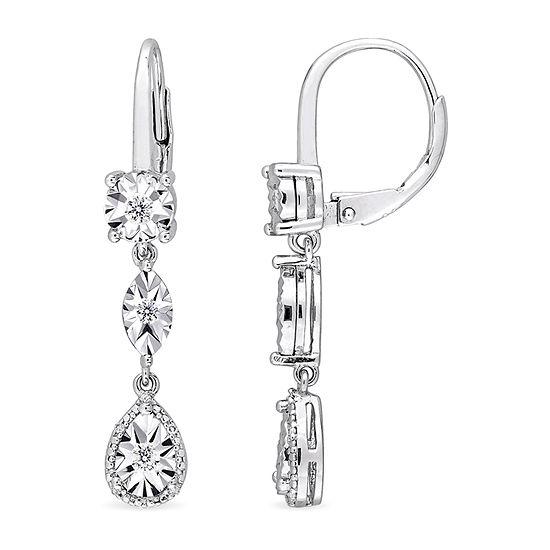 1/4 CT. T.W. Genuine White Diamond Sterling Silver Drop Earrings