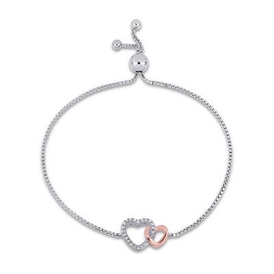 1/10 CT. T.W. Genuine White Diamond 18K Two Tone Gold Heart Bolo Bracelet
