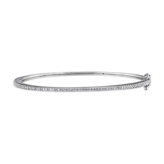 1/4 CT. T.W. Genuine White Diamond Sterling Silver Bangle Bracelet