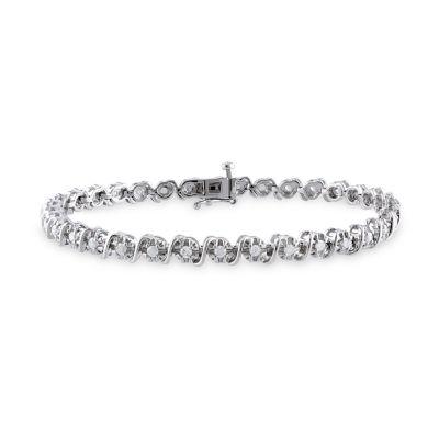 1 CT. T.W. Genuine White Diamond Sterling Silver 7.25 Inch Tennis Bracelet