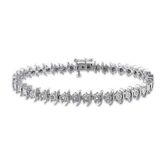 1/2 CT. T.W. Genuine White Diamond Sterling Silver 7.25 Inch Tennis Bracelet