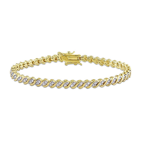 1 CT. T.W. Genuine White Diamond 18K Gold Over Silver 7.25 Inch Tennis Bracelet