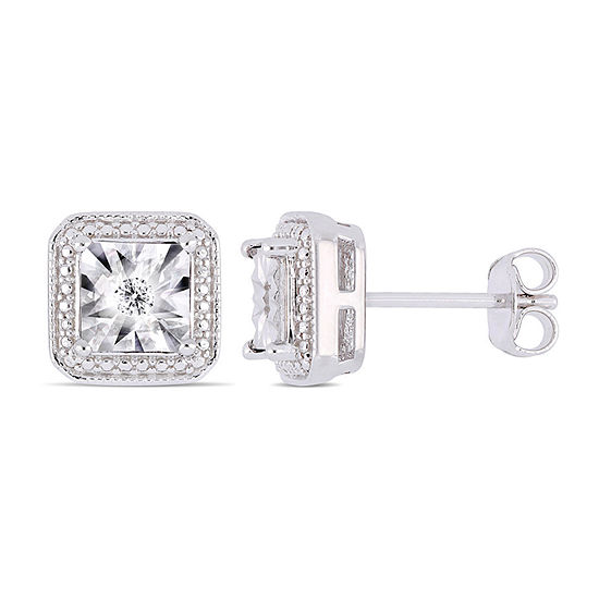 Diamond Accent Genuine White Diamond Sterling Silver 9.1mm Stud Earrings