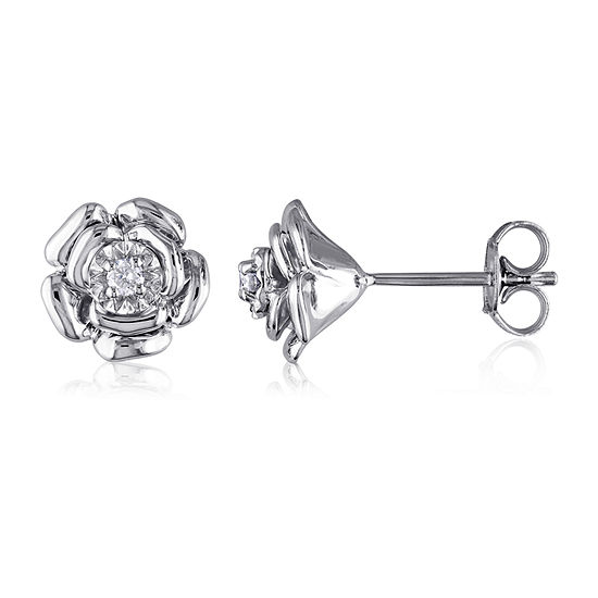 Diamond Accent Genuine White Diamond Sterling Silver 9mm Stud Earrings