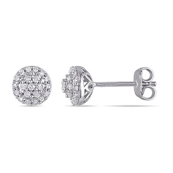 1/4 CT. T.W. Genuine White Diamond Sterling Silver 6.3mm Stud Earrings