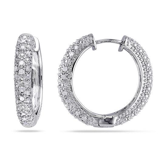 1/2 CT. T.W. Genuine White Diamond Sterling Silver 23.4mm Hoop Earrings