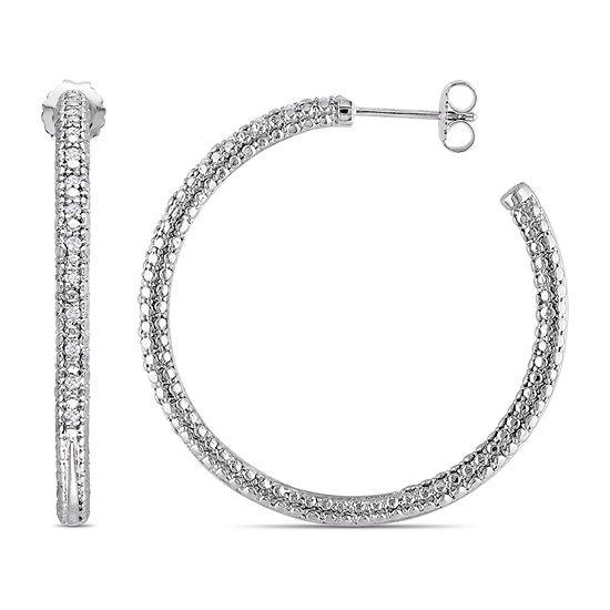 1/4 CT. T.W. Genuine White Diamond Sterling Silver 39.1mm Hoop Earrings