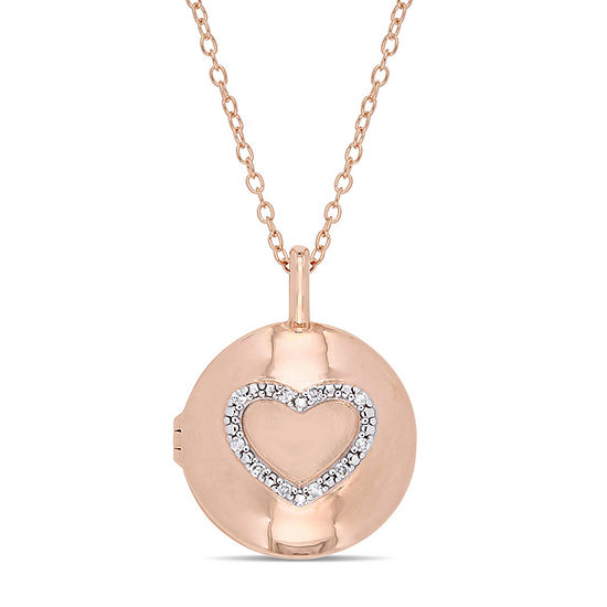 Womens Diamond Accent Genuine White Diamond 18K Gold Over Silver Locket Necklace