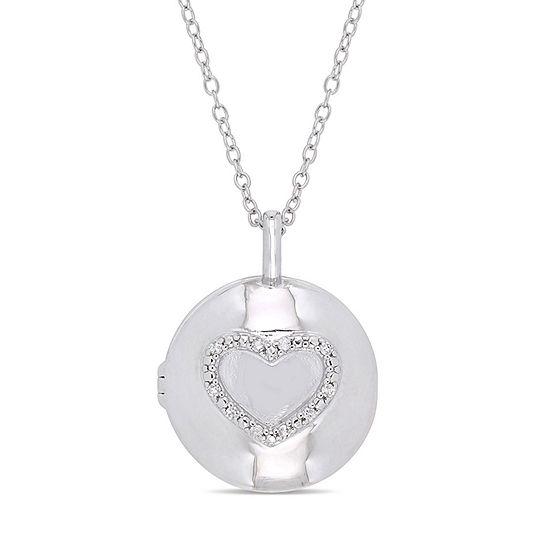 Womens Diamond Accent Genuine White Diamond Sterling Silver Locket Necklace