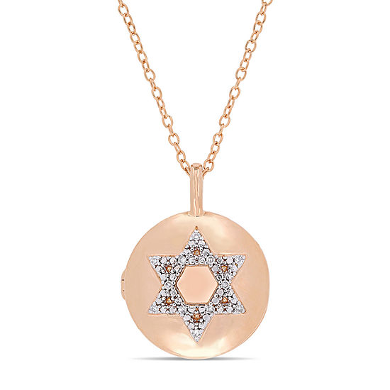 Womens Diamond Accent Genuine White Diamond 18K Gold Over Silver Locket Necklace