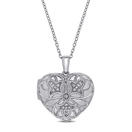 Womens Diamond Accent Genuine White Diamond Sterling Silver Heart Locket Necklace
