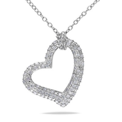 Womens 1/3 CT. T.W. Genuine White Diamond Sterling Silver Heart Pendant Necklace