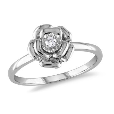 Womens Diamond Accent Genuine White Diamond Sterling Silver Flower Cocktail Ring