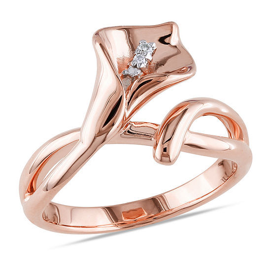 Womens Diamond Accent Genuine White Diamond 18K Rose Gold Over Silver Flower Cocktail Ring