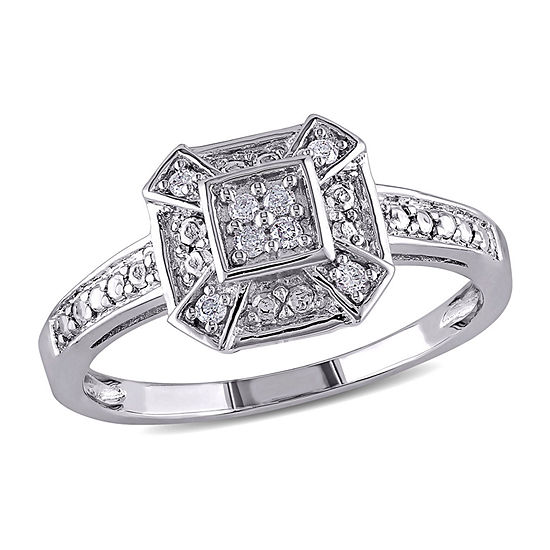 Womens 1/10 CT. T.W. Genuine White Diamond Sterling Silver Cocktail Ring