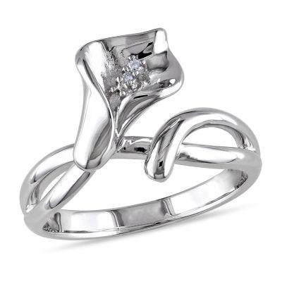 Womens Diamond Accent Genuine White Diamond Flower Cocktail Ring