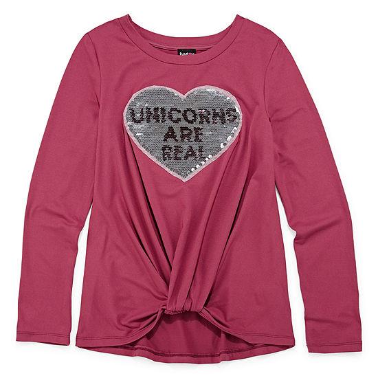 Disorderly Kids Girls Round Neck Long Sleeve Graphic T-Shirt - Big Kid