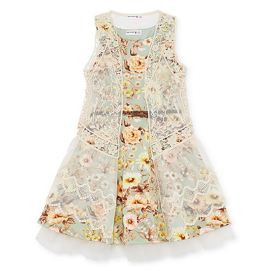 Knit Works Belted Sleeveless Party Dress - Big Kid Girls