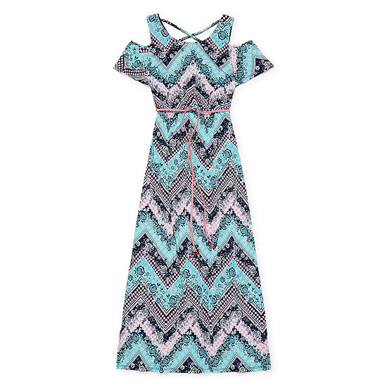 Trixxi Girl Belted Short Sleeve Cold Shoulder Sleeve Chevron Maxi Dress Preschool Big Kid Girls