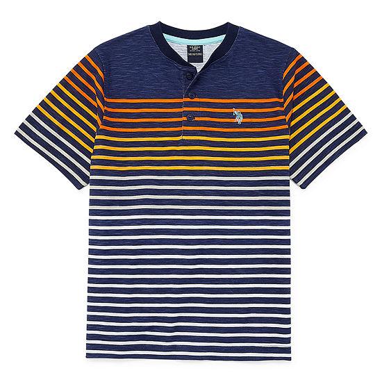 U.S. Polo Assn. Little & Big Boys Short Sleeve Embroidered Henley Shirt