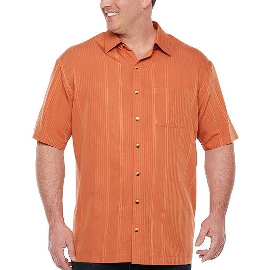 Van Heusen Big and Tall Mens Short Sleeve Striped Button-Front Shirt
