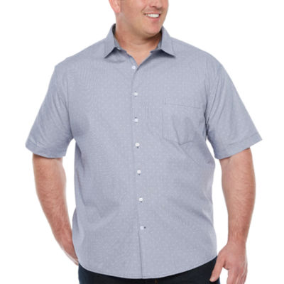 Claiborne Mens Short Sleeve Dots Button-Front Shirt Big and Tall