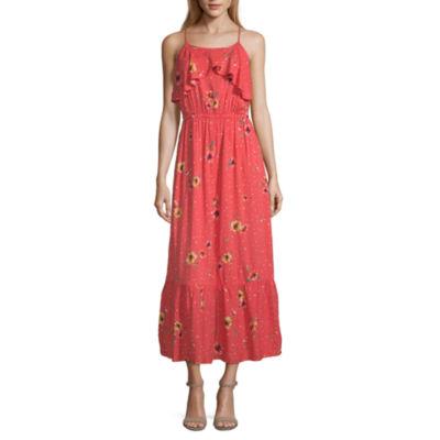 Peyton & Parker Sleeveless Coral Floral Maxi Dress