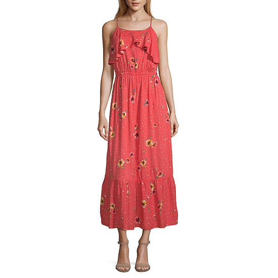 Peyton & Parker Sleeveless Coral Floral Maxi Dress