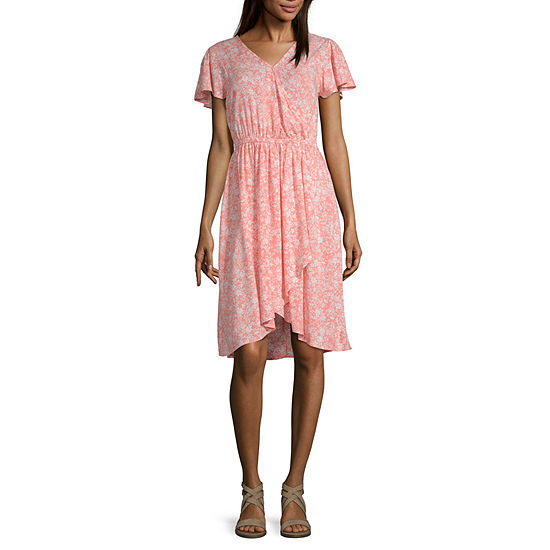 Peyton & Parker Short Sleeve Floral Wrap Dress