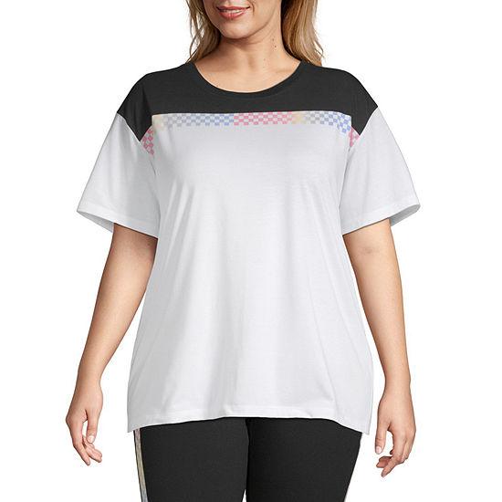 Flirtitude-Womens Round Neck Short Sleeve T-Shirt Juniors Plus