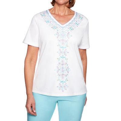 Alfred Dunner Catalina-Womens V Neck Short Sleeve T-Shirt Petite