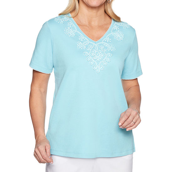 Alfred Dunner Catalina Island-Womens V Neck Short Sleeve T-Shirt