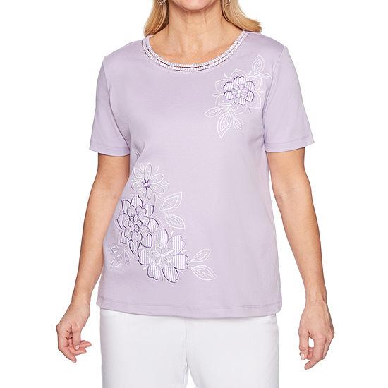 Alfred Dunner Catalina Island-Womens Scoop Neck Short Sleeve T-Shirt