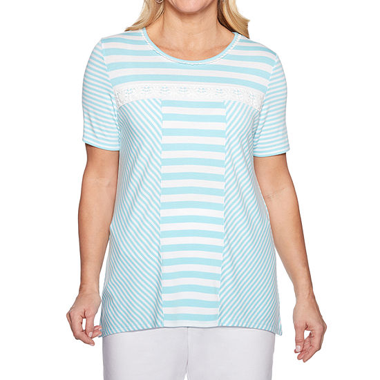 Alfred Dunner Catalina Island-Womens Crew Neck Short Sleeve T-Shirt