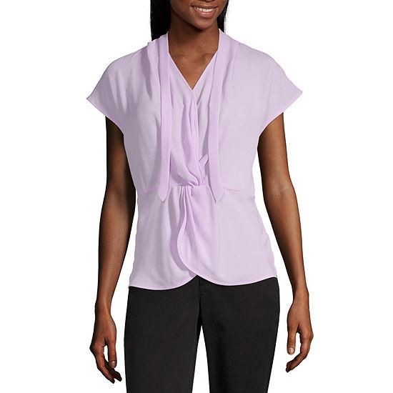 Worthington Womens V Neck Short Sleeve Blouse