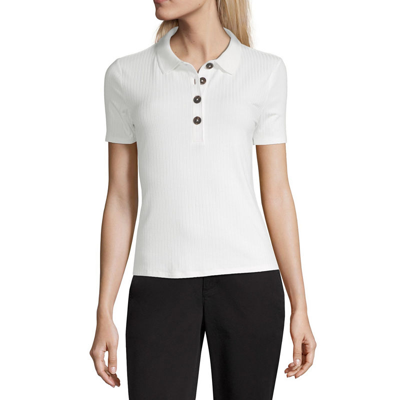 Vintage Tops & Retro Shirts, Halter Tops, Blouses Worthington Womens Short Sleeve Knit Polo Shirt Size Xx-large White $10.19 AT vintagedancer.com