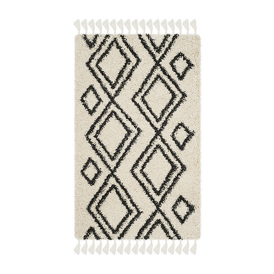 Safavieh Moroccan Fringe Shag Collection Horgan Geometric Area Rug