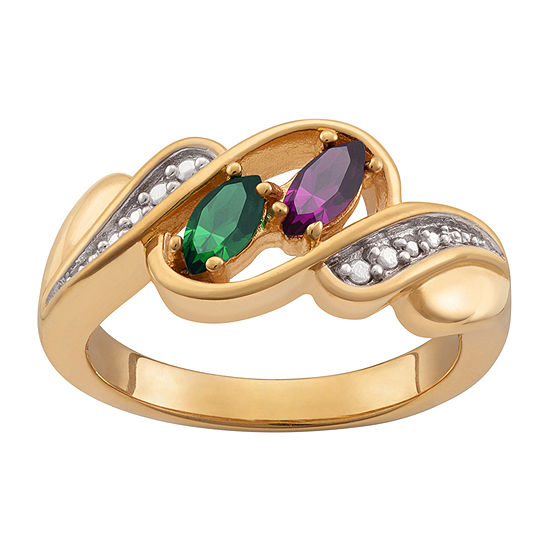 Personalized Womens Multi Color Crystal 10k Gold Over Silver Cocktail Ring