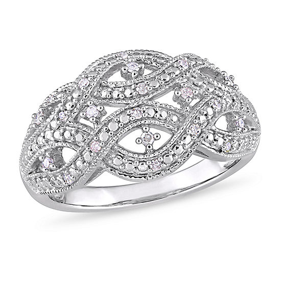 Womens 2MM 1/8 CT. T.W. Genuine White Diamond Sterling Silver Band