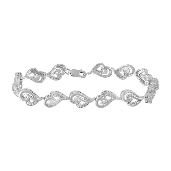 Catalog Internet Diamond Accent Genuine White Diamond Sterling Silver Heart 7.25 Inch Tennis Bracelet