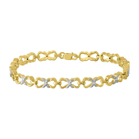 1/10 CT. T.W. Genuine White Diamond 10K Gold Over Silver Sterling Silver 7.25 Inch Tennis Bracelet