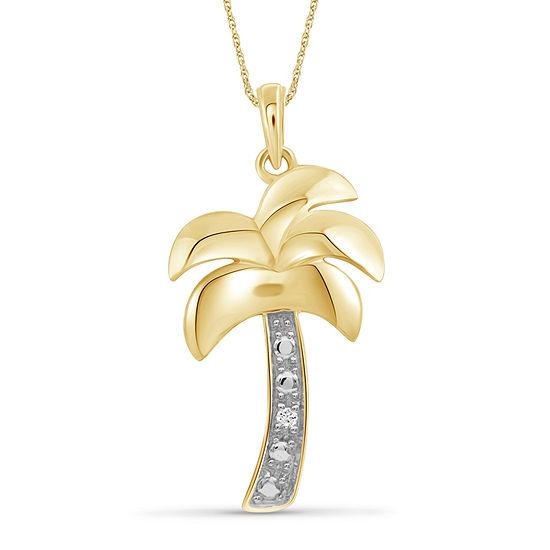 Womens Diamond Accent Genuine White Diamond 14K Gold Over Silver Pendant Necklace