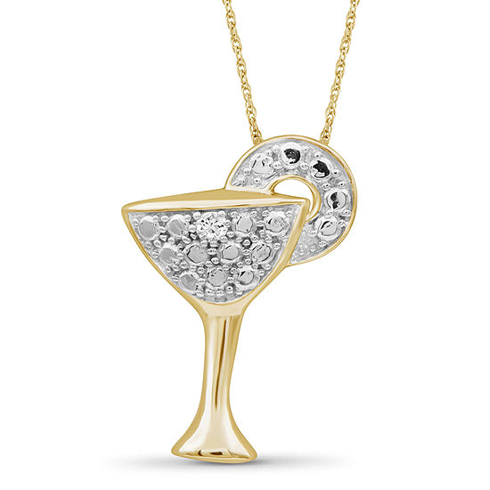 Womens Diamond Accent Genuine White Diamond 14K Gold Over Silver Pendant Necklace
